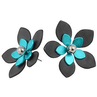 Ti2 Titanium 33mm Five Double Petal Flower Stud Earrings - Black/Kingfisher Blue