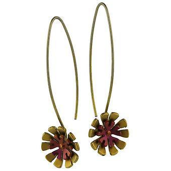 Ti2 Titanium Double Ten Petal Flower Drop Earrings - Brown