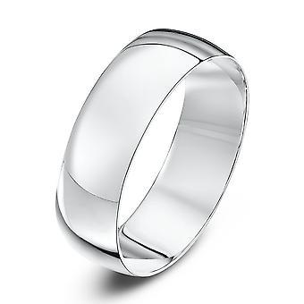 Star Wedding Rings 18ct White Gold Light D 6mm Wedding Ring