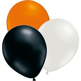 24 PCs globos naranja, blanco y negro-12