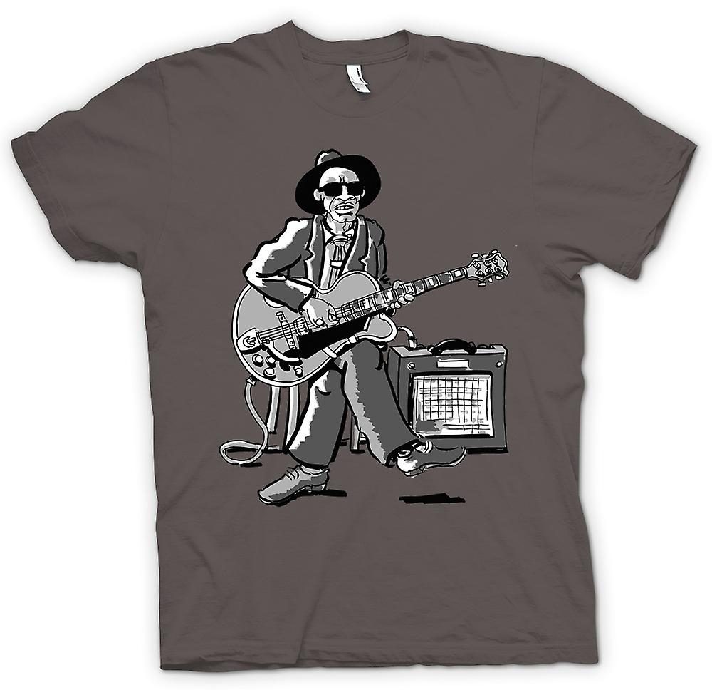 Womens T-shirt - Old Blues Guitarist With Amp - Music