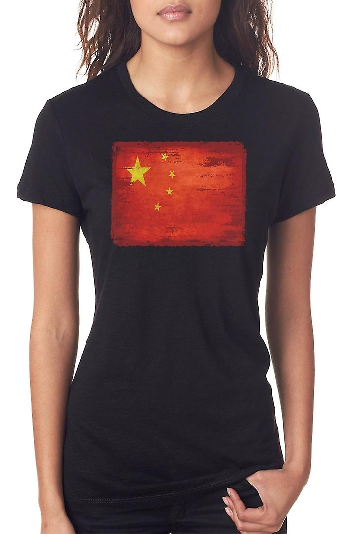 Chinese China Grunge Flag Ladies T Shirt