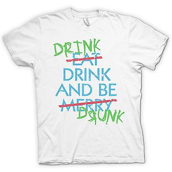 Drink Drive And Be Drunk- Eat Drink and Be Merry - Funny - 100% Cotton Short Sleeve Ladies T Shirt