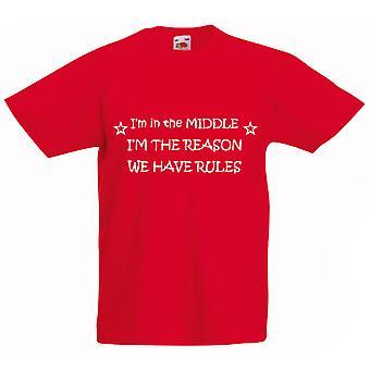 Jeg er i midten jeg grunn har vi regler røde Kids t-skjorte
