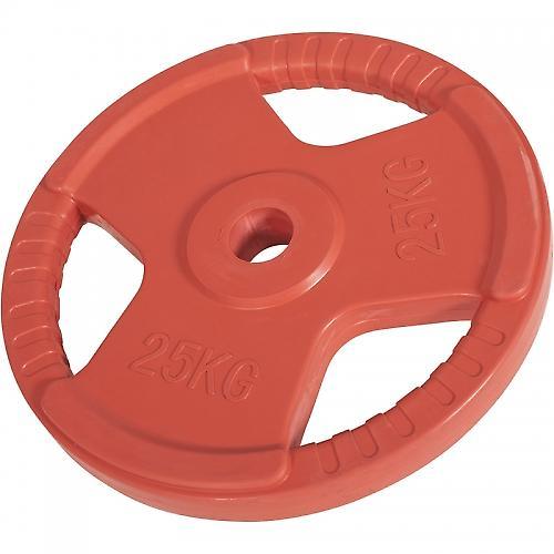 Poids disque 51mm en fonte rev�tement caoutchouc de 25kg avec poign�e