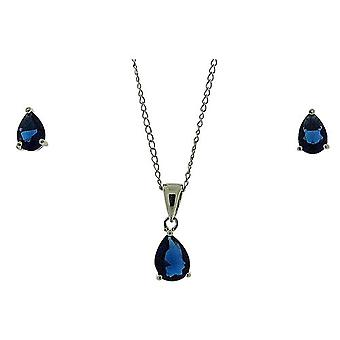 TOC Sterling Silver Blue CZ Tear Drop Earring & Pendant Necklace 18