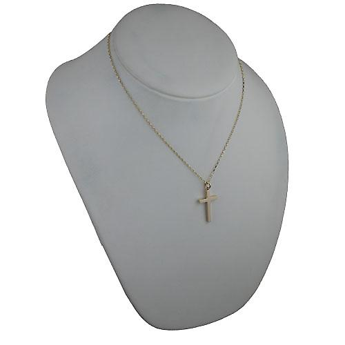 9ct Gold 30x18mm plain solid block Cross with a belcher Chain 18 inches