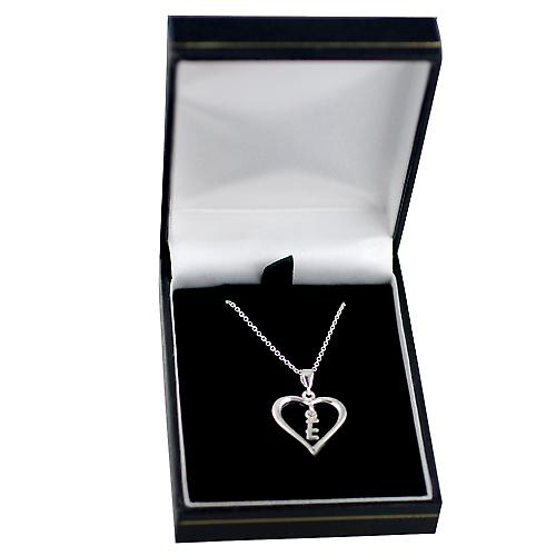 Silver 18x18mm initial E in a heart Pendant with a rolo Chain 14 inches Only Suitable for Children