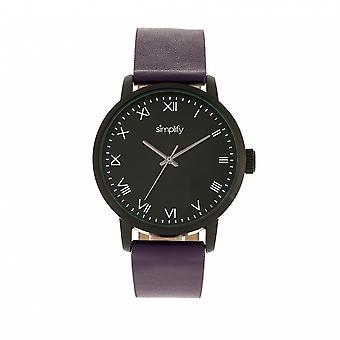 Simplify The 4200 Leather-Band Watch - Purple