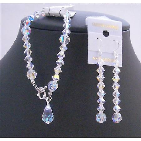 Bridesmaid AB Crystal Teardrop Swarovski AB Crystals Bracelet Earrings