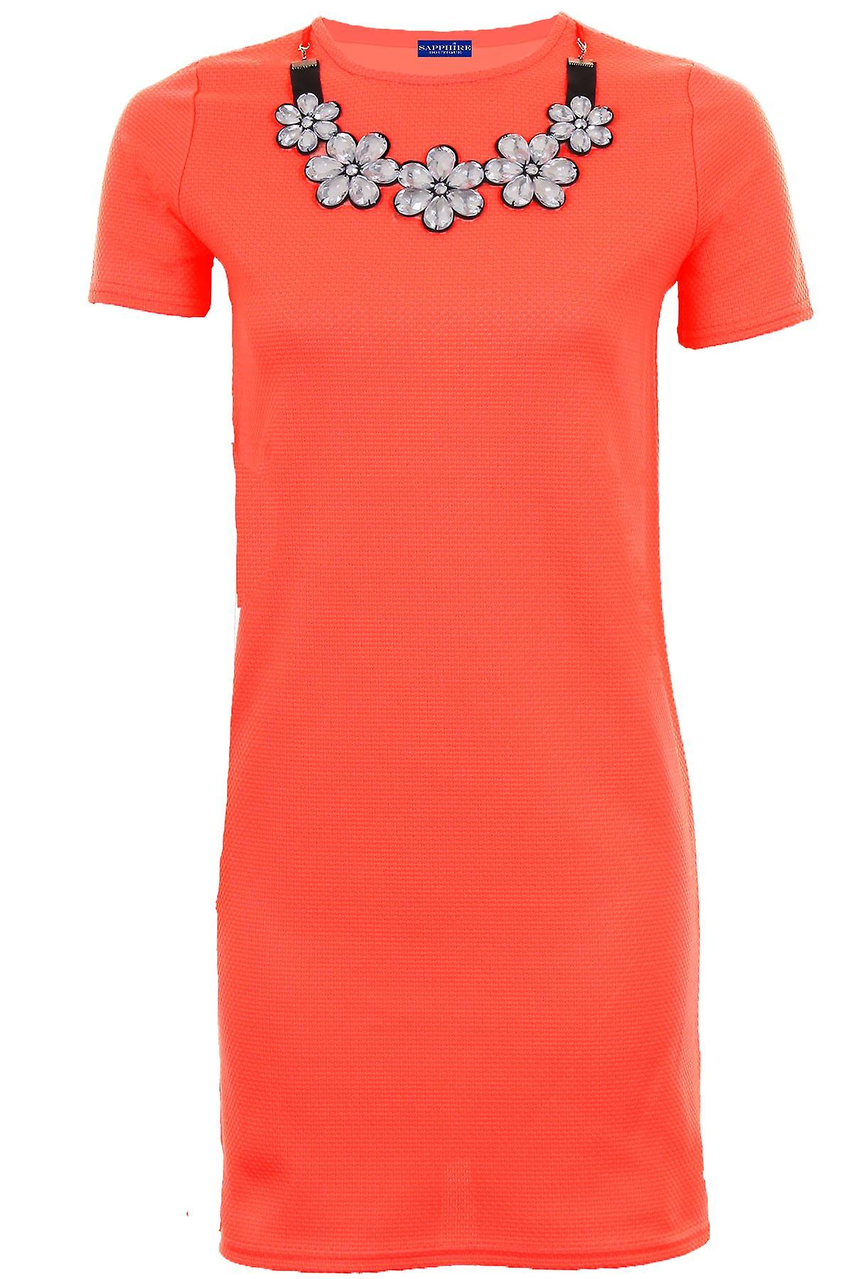Ladies Short Sleeve Floral Jewelled Necklace Textured Women's Straight Dress