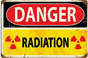 Danger Radiation rusted metal sign   (pst 1812)