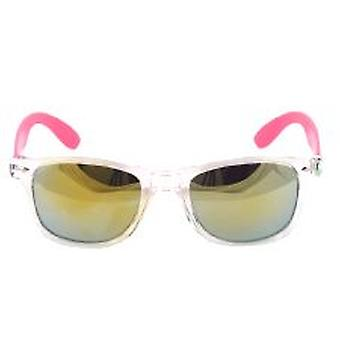 Clear Frame Wayfarer Style Glasses with Mirrored Lens and Pink Arm