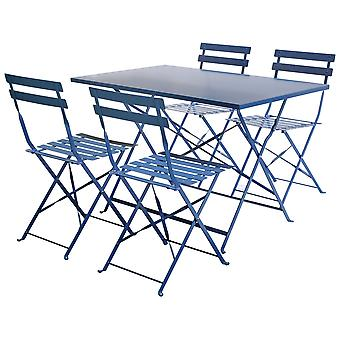 Charles Bentley 4 zits rechthoekige vouwen Metal dining set met poedercoating finish in Navy Grey