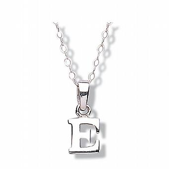 Jo For Girls Sterling Silver Initial 'E' Pendant Necklace 14