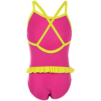 Infant Girls Speedo Moonset Frill Swimsuit in Pink Yellow-Graphic Print Detail