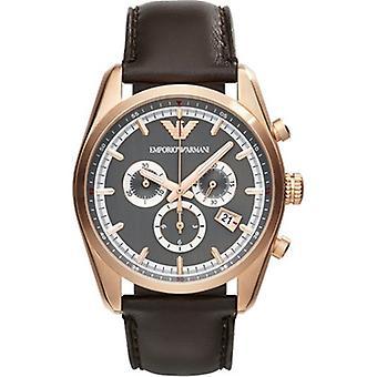 Emporio Armani Armani Ar6043 Mens Tazio Black Leather Strap Watch