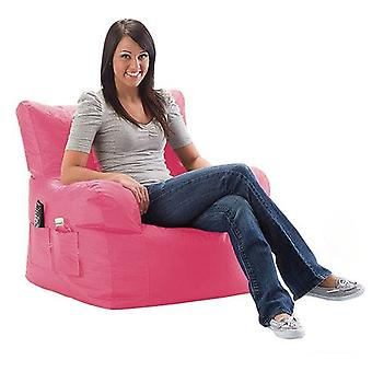 Pink Water Resistant Large Bean Bag Relaxing Chair with Matching Footstool
