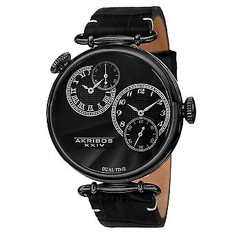 Akirbos XXIV AK796BK Men's Quartz Dual Time Leather Black Strap Watch