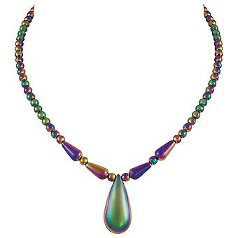 Eternal Collection Bewitching Rainbow Hematite Teardrop Beaded Necklace