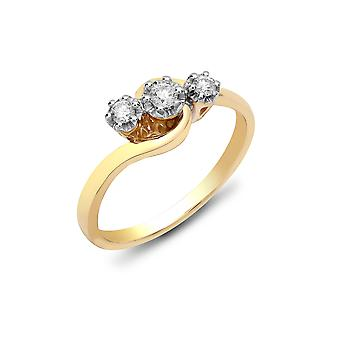 Jewelco London Ladies solid 9ct gult guld 6 Claw set rund H i2 0.25 CT Diamond crossover Trilogy Ring 6mm