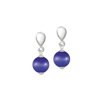 Eternal Collection Melody Deep Blue Cats Eye Silver Tone Drop Clip On Earrings