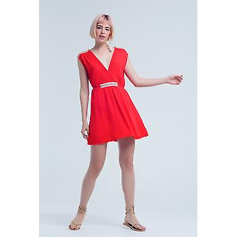 Red mini dress with embroidery