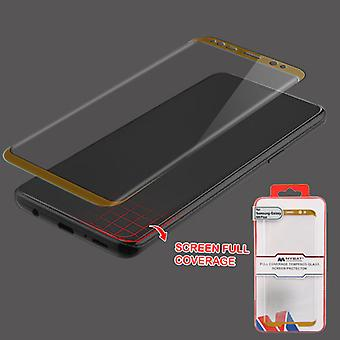 MYBAT Full Coverage Tempered Glass Screen Protector/Gold for Galaxy S9 Plus