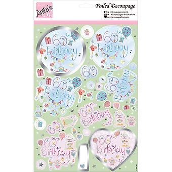 Anita's A4 Foiled Decoupage Sheet-60th Birthday A169617