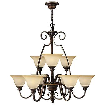 Cello Traditional 9 Arm Chandelier with Antique Bronze Finish