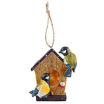 Detailed Hanging Resin Garden Bird House Nesting Box with Blue Tit Birds