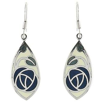 Fine Enamels Blue and Green Mackintosh Rose Flower Drop Earrings