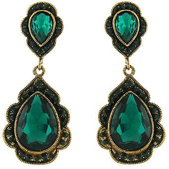 Clip On Earrings Store Large Vintage Gold & Emerald Green Crystal Drop Clip on E