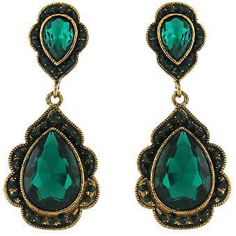 Clip op oorbellen Store grote Vintage Gold & Emerald groen Crystal Drop Clip op E