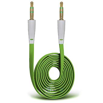 ONX3 (Green) Intex Aqua S7 3.5mm Stereo Male to Male Jack Plug Audio Aux Flat Cable Sound Lead Gold Connectors