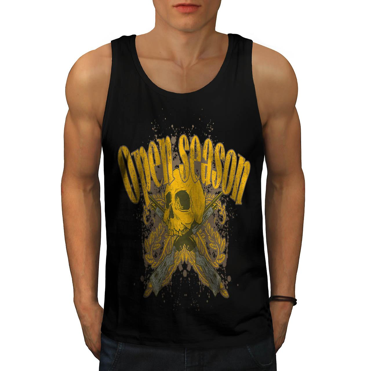 Open Season Hunting Dead Skull Men Black Tank Top | Wellcoda