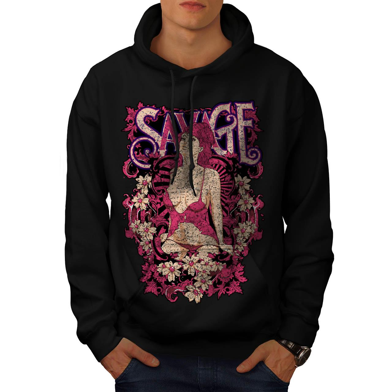 Savage Beauty Lust Stripper Girl Men Black Hoodie | Wellcoda