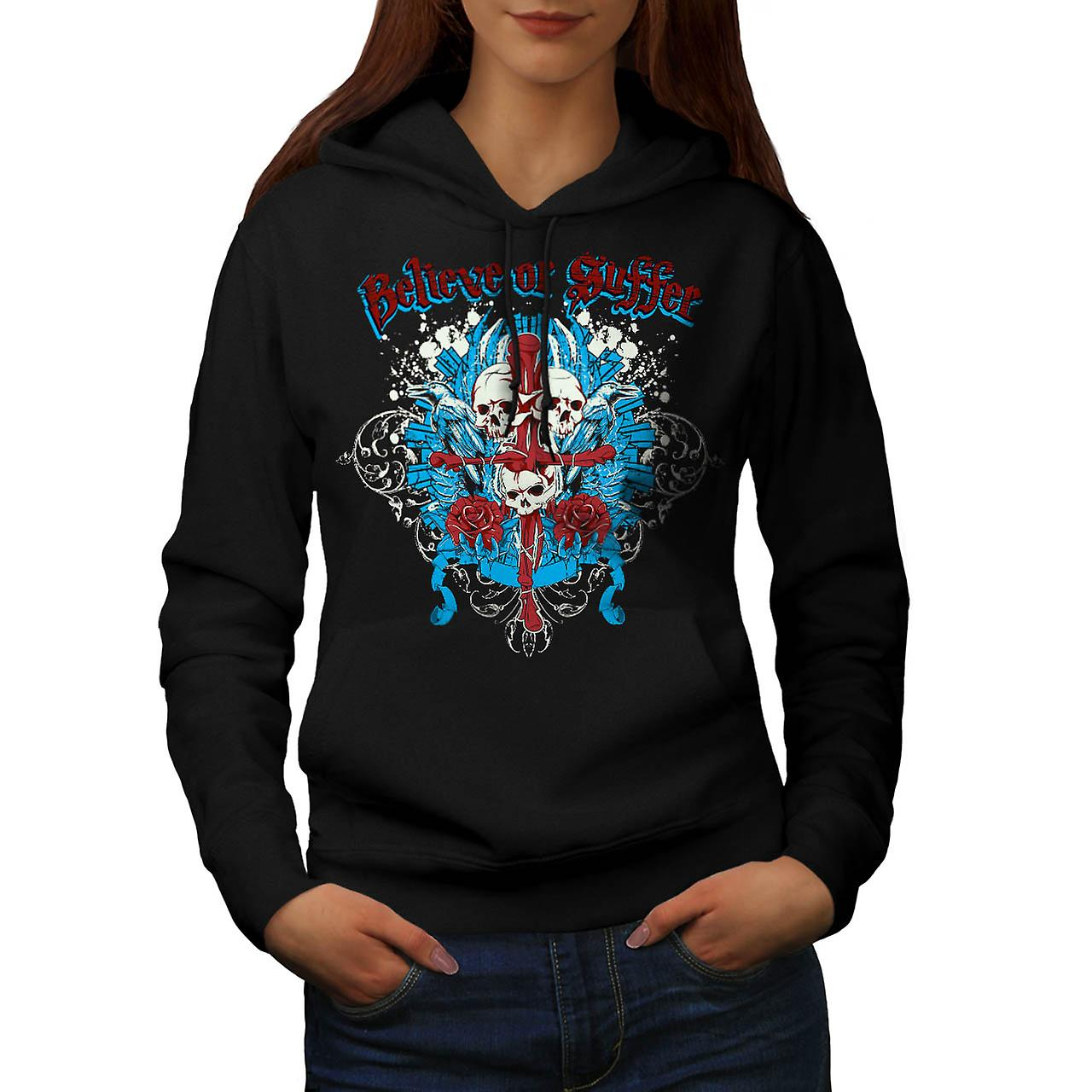 Believe Suffer Skull Cross Bones Women Black Hoodie | Wellcoda