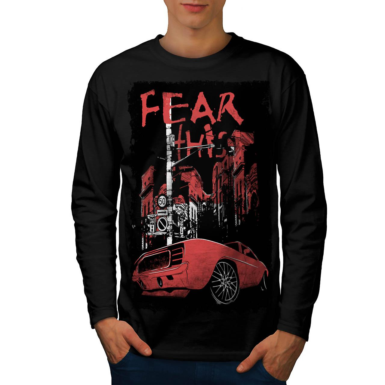 Fear This Muscle Car Street Light Men Black Long Sleeve T-shirt | Wellcoda