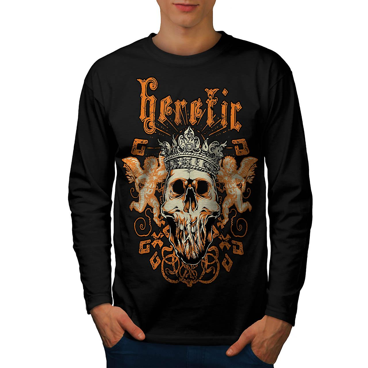Heretic Monster King Skull Rage Men Black Long Sleeve T-shirt | Wellcoda