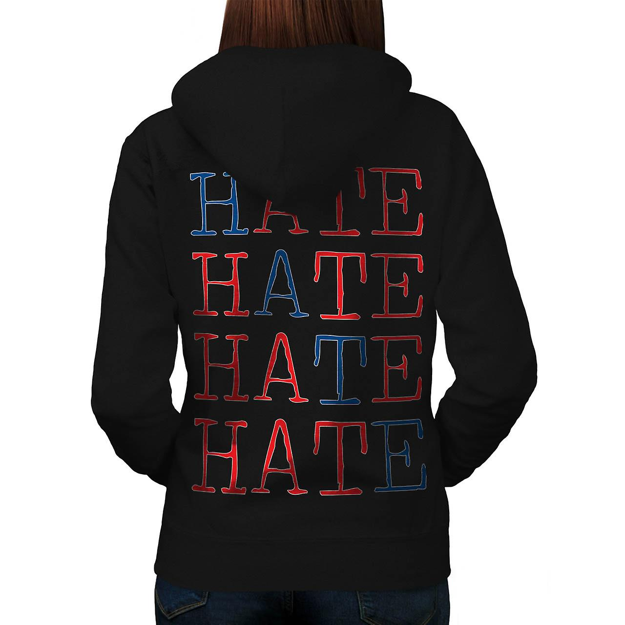 Always Hate Your Enemy Crazy Fun Women Black Hoodie Back | Wellcoda