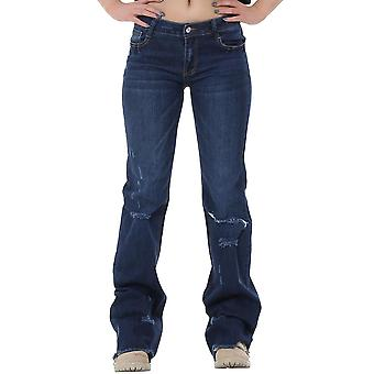60s 70s Style Ripped Distressed Denim Bootcut Flared Jeans with Frayed Leg Ends - Blue