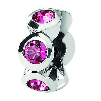 Sterling Silver Polished Reflections October Crystal Bead Charm