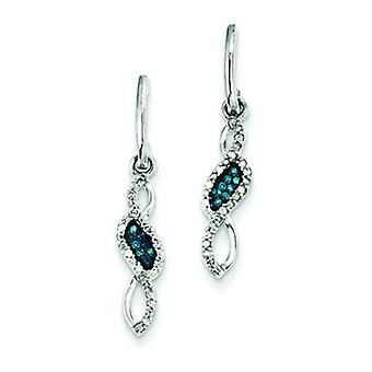 Sterling Silver Blue and White Diamond Earrings - .13 dwt