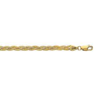 14 k oro amarillo 3,5 mm brillo corte trenzado cadena Fox con la pulsera del corchete de la langosta - 3,0 gramos - 7 pulgadas
