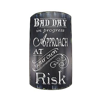 Distressed Finish Retro BAD DAY IN PROGRESS Metal Sign