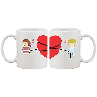 Love Connecting Couple Mugs Cute Graphic Design Ceramic Coffee Mug Cup 11 oz