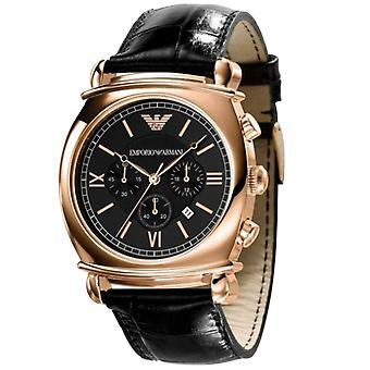 Emporio Armani AR0321 Black Leather Strap Round Gold Dial Chronograph Watch