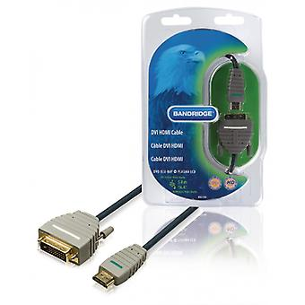 Bandridge High Speed HDMI cable HDMI Connector-DVI-D 18 + 1 p male blue