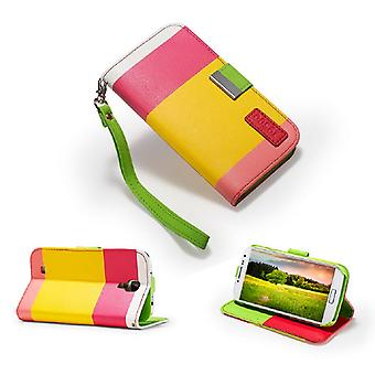 Multiple Stripe wallet case + stylus for Samsung Galaxy S4 i9500 - Hot Pink